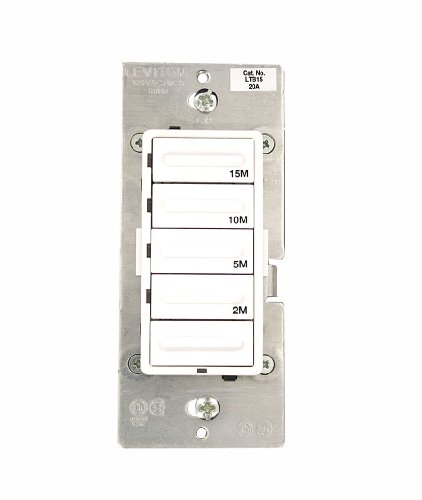 Leviton LTB15-1LZ Decora 1800W Incandescent/20A Resistive-Inductive 1HP Preset 2-5-10-15 Minute Countdown Timer Switch, White/Ivory/Light Almond