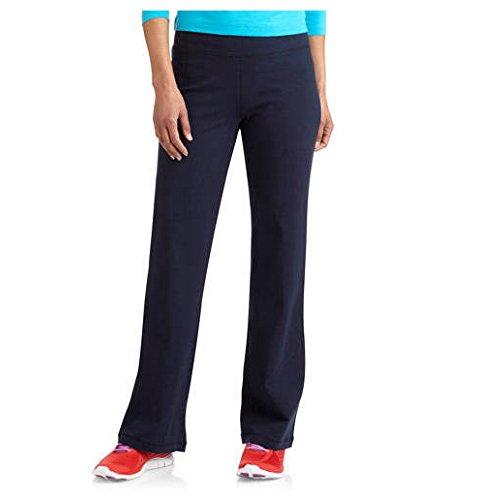 Danskin Now Womens Dri-More Core Bootcut Yoga Workout Pants - Regular or Petite (Small Petite, Navy Blue)