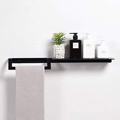 LANN Bathroom Shelf Wall-Mounted Space Aluminum Towel Rack Rustproof Bathroom Shelf Creative Simplicity Bathroom Toiletries Storage Rack Anodizing Hollow Drainage Black Size  40cm