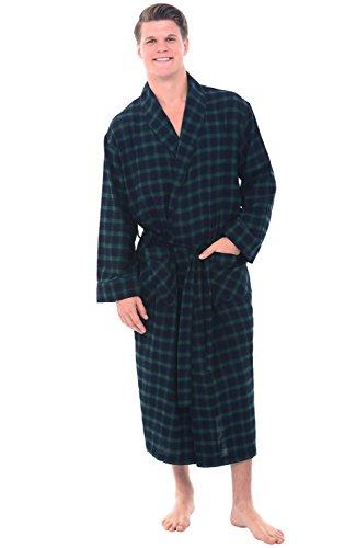 Alexander Del Rossa Mens Flannel Robe, Soft Cotton Bathrobe, 3XL Blue and Green Plaid (A0707P233X)