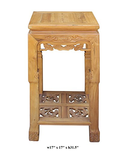 Chinese Square Brown Carving Wood Pedestal Plant Stand Table Acs2778