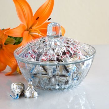 Beautiful Glass Candy Dish w/ Cover by DTSC Imports