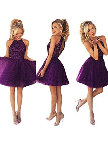 Ubridal Short Beading Keyhole Back Tulle Homecoming Dresses Prom Gowns purple 4
