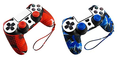 Hipipooo 2 Pack of PS4 Controller Skin Protective Joystick Cover with Thumb Grips for PS4 Gamepad