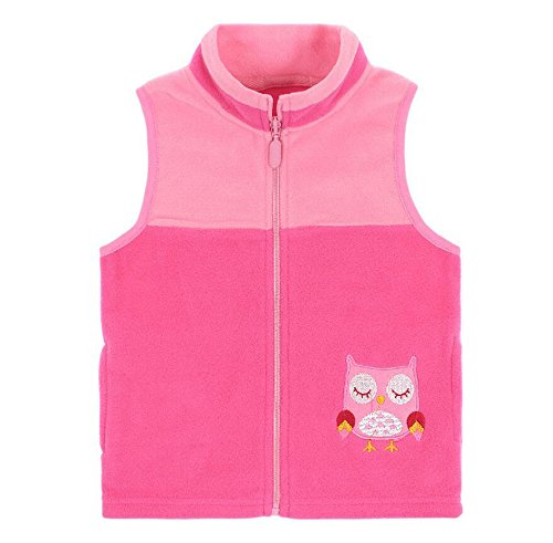 HUAER& Baby Boys and Girls' Zip Front Embroidery Pattern Woollen Jacket Vest (5-6T(height115-125cm/44.85-48.75inch), Pink)