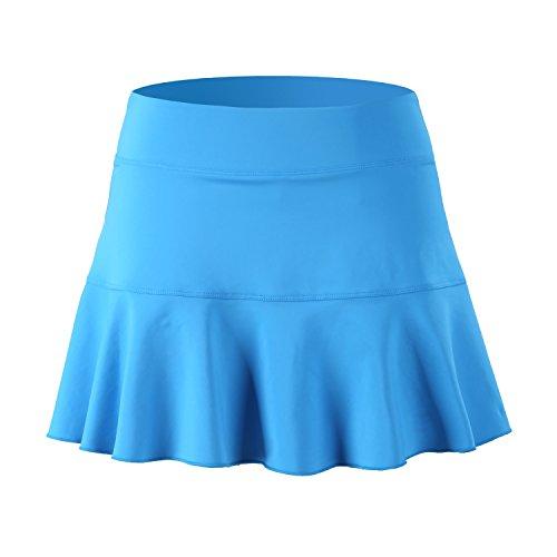 32e-SANERYI Women's Basic Elastic Running Skirt with Shorts Workout Skort(sk25,L,Sky Blue)