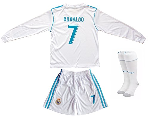 GamesDur 2016/2017 Real Madrid Ronaldo #7 Home Long Sleeve Soccer Kids Jersey & Short Set Youth Sizes (5-6 Years)