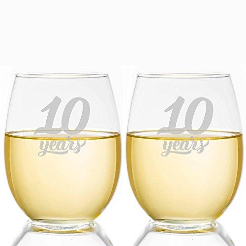 10 Years 21-ounce Stemless Wine Glass (Set of 2) - Wedding Anniversary - Anniversary