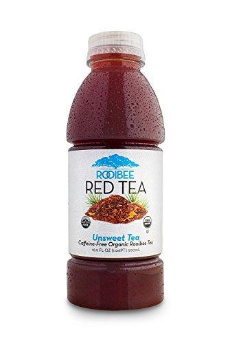 Rooibos Tea by Rooibee Red Tea, Caffeine Free, Organic Unsweetened Tea 16.9 fl oz Bottled Tea (Case of 12)