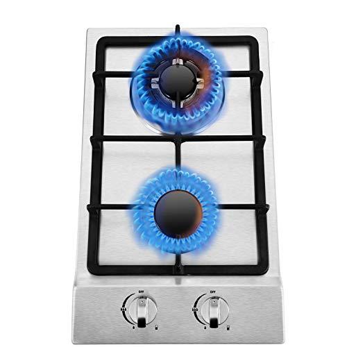 Kacsoo - 2 fuegos quemadores de cocina de gas enrastrable, mesa de cocina de gas Lpg/Ng Dual Fuel con soportes de cacerola de hierro fundido duraderos, encendido eléctrico, 220 V (31 x 51 cm)