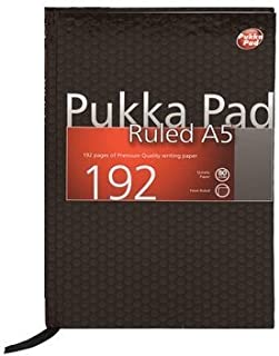 Pukka Pads A5 Ruled Feint Case Bound Book - Black (192 Pages) pack of 5