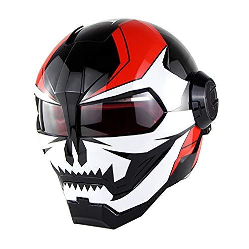 XYL Casco Completo Casco de Moto Certificación D.O.T Motocross Casco Moto Flip Open Mask Casco Iron Man Transformers Scooter Forma de Diablo Casco de Moto,Black,XL