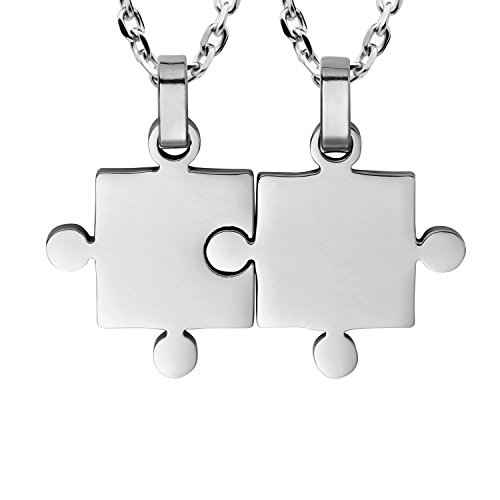 Set di collane con ciondoli a forma di puzzle che si combinano assieme, per lui e per lei, per coppie, con due catene lunghe 45,7 cm e 53,3 cm., acciaio inossidabile, colore: Silver, cod. AC1273