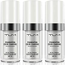 3PCS TLM Concealer Cover Cream, Flawless Colour Changing Warm Skin Tone Foundation Makeup, Base Nude Face Liquid Cover Concealer (3 PACK)