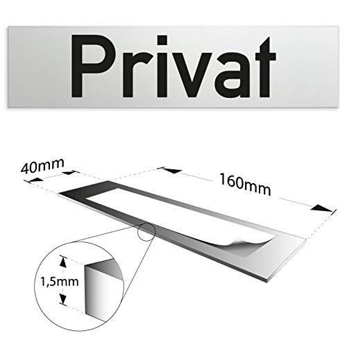 Kinekt3d Leitsysteme Schild/Türschild 160 x 40 x 1,5 mm - Aluminium Vollmaterial eloxiert - Oberfläche in geschliffener Edelstahloptik - 100% Made in Germany (Privat)