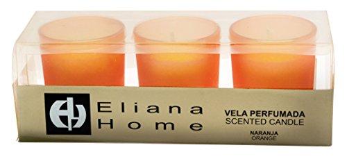 Eliana Home Estuche 3 Vasos Cera aromática Naranja, 4.30x10.50x5.20 cm 3 Unidades