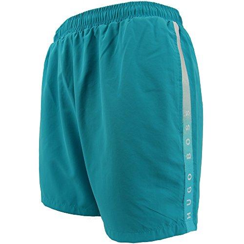 Hugo Boss Bade Shorts XL 441 türkis Aqua Blue Normale Länge mit Gesäßtasche und Innenslip