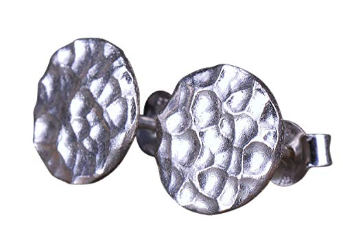 NicoWerk Silber Ohrstecker Kreis Gehämmert Schlicht Damen 925 Ohrringe Stecker Ohrschmuck Geschenk SOS157