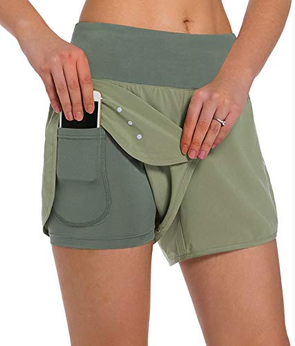 Ksmien Women's 2 in 1 Running Shorts - Lightweight Athletic Workout Gym Yoga Shorts Liner with Phone Pockets Green