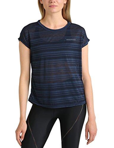 Ultrasport T-shirt de course Skegness pour femme : haut à encolure ronde et rayures en jersey,Bleu Marine, 46