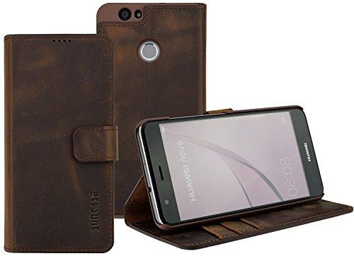 Google Pixel | Suncase Book-Style (Slim-Fit) Ledertasche Leder Tasche Handytasche Schutzhülle Hülle Hülle (mit Standfunktion & Kartenfach) antik coffee