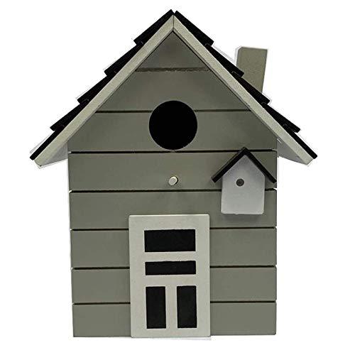 CasaJame Holz Vogelhaus für Balkon und Garten, Nistkasten, hellgrau, Haus für Vögel, Vogelhäuschen, 20 x 17 x 12cm