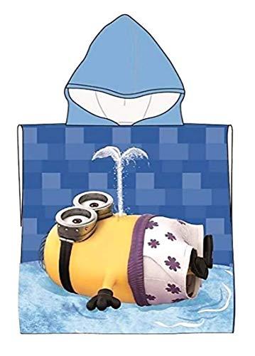 Badetuch Bademantel Kapuzen Poncho für Kinder Minions Minion tolles Geschenk für Mädchen und Jungen (Minion 1A)