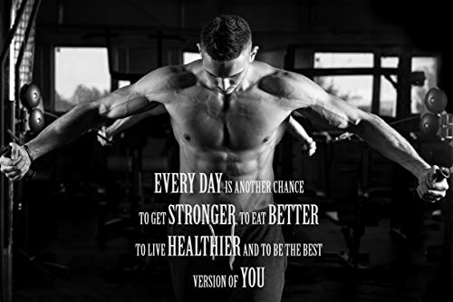 EzPosterPrints - Bodybuilding Men Girl Fitness Workout Quotes Motivational Inspirational Muscle Gym Posters - Wall Art Print for Home Office Gym - MOTIVATION-QUOTE-18-36X24 inches