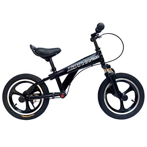 ERLAN Bicicletas sin Pedales Bicicleta de Equilibrio Ligera para Niños con Freno, Sin Bicicleta de Pedales para Niños Pequeños, Ruedas de 14/16 Pulgadas para Mayores de 5 Años, Negro (Size : 16-Inch)