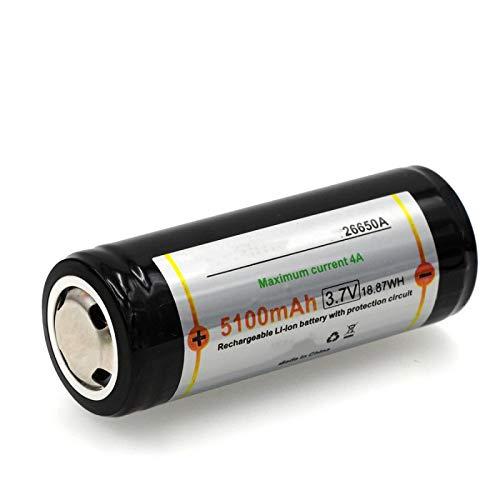 MeGgyc 26650 5100mAh 3.7V Li-LON Batería Recargable 4A 3.6V Baterías de energía para Linterna