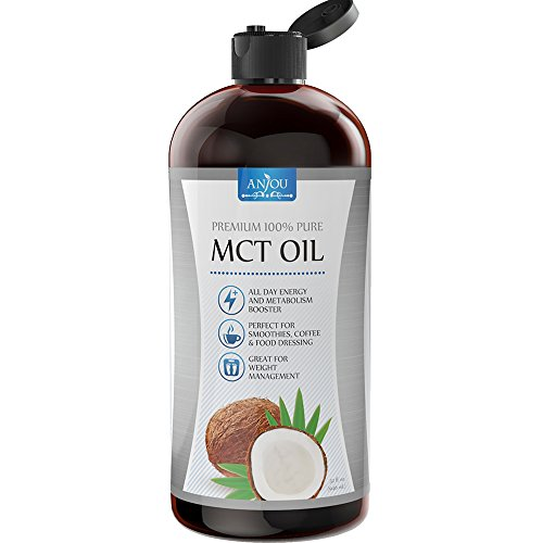 Anjou Premium MCT Oil 32 fl.oz, C8 C10 Derived from Non-GMO Coconut Oil, Keto Friendly and Paleo Diet Approved, BPA-Free Bottle