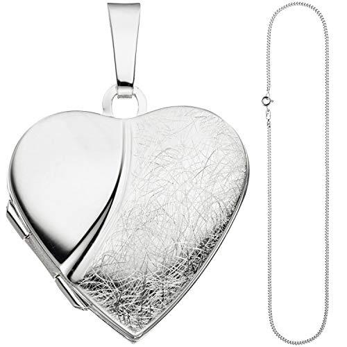 JOBO Damen Medaillon Herz Anhänger zum Öffnen für 2 Fotos 925 Silber mit Kette 50 cm