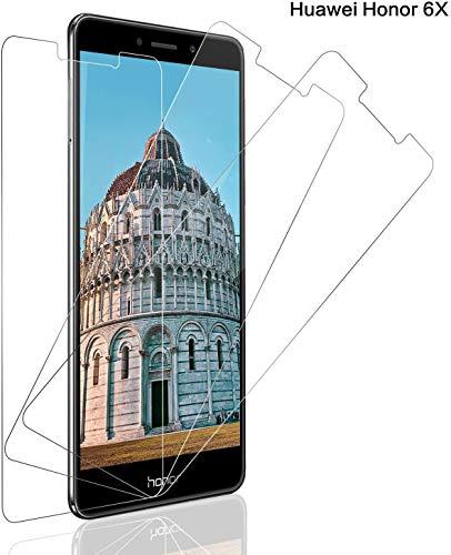 Panzerglas Schutzfolie für Huawei Honor 6X [3 Stück], 9H Festigkeit Panzerglasfolie Bildschirmschutz für Honor 6X, Anti-Kratzen Schutzglas, Ultra Klar, Bläschenfrei, Huawei Honor 6x Bildschirmschutzfolie