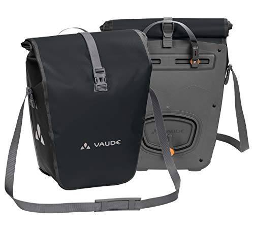 VAUDE Aqua Back – Juego de 2 bolsas para bici adaptables a la carga e impermeables, Negro, Talla única