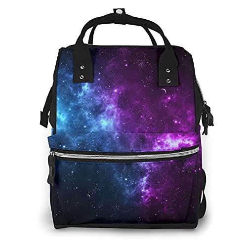 Galaxy Space - Bolsa de pañales multifunción para el cuidado del bebé, impermeable, amplia mochila de viaje abierta para organización
