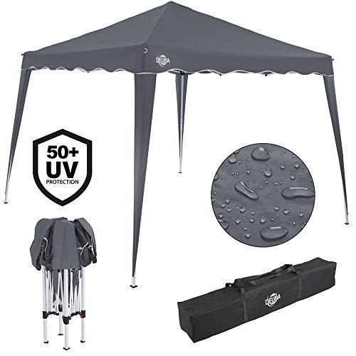Deuba® Pavillon Capri 3x3m wasserdicht Pop-Up inkl. Tasche UV-Schutz 50+ Faltpavillon Gartenzelt Partyzelt Anthrazit