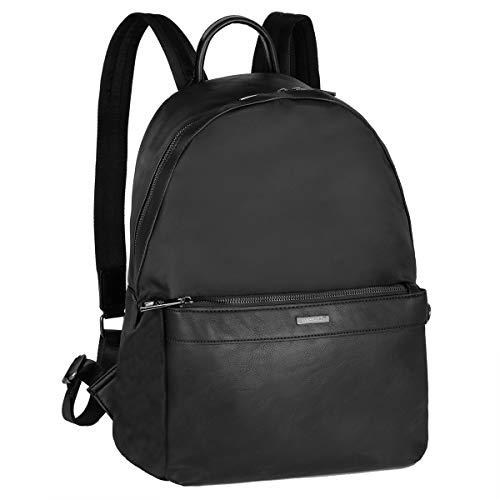 David Jones - Zaino Nylon Uomo - Borsa Zainetto Media 13 Pollici Laptop Portatile PU Pelle - Daypack Backpack Casual Elegante - Rucksack Multifunzionale Lavoro Scuola Viaggio Quotidiana - Nero