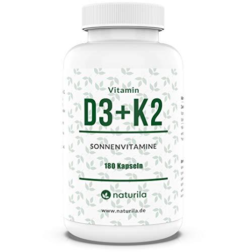 Naturila Vitamin D3 + K2 Kapseln – 5000 IE D3 / 200 µg K2 MK7 99,99% Trans-Form - hochdosiert, laborgeprüft - 180 Kapseln