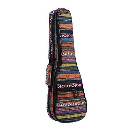 XuBa 21/23/26 Ethnic Knitting Style Ukulele Bag Rucksack Doppelter Schultergurt Baumwolle Gepolsterte Ukulele-Tasche 23 Zoll