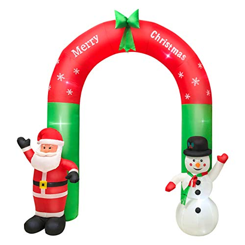 JMSHTU Utomhus juldekorationer uppblåsbar tomte 20 cm uppblåsbar valvbåge jultomten och snögubbe, passform jul gårdsdekoration upplyst utomhus
