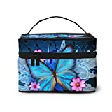 Blue Butterfly Makeup Bag Organizer for Travel Cosmetic Bags with Handle Toiletry Bags for Women Girls