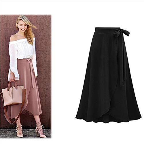 ERLIZHINIAN Szyfon różowy falbanka damska długa spódnica wysoka talia muszka rozdzielona nieregularne spódnice maxi damskie wiosna lato biuro ubrania kobiety (kolor: Czarny, rozmiar: XXL)