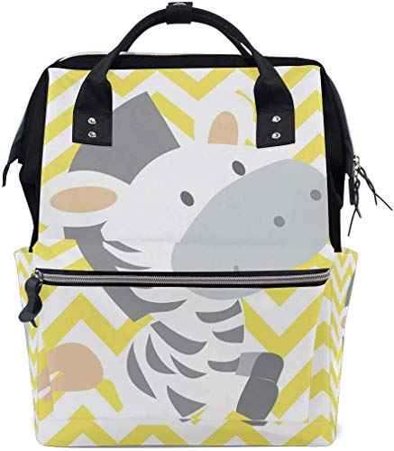 UUwant Sac à Dos à Couches pour Maman Large Capacity Diaper Backpack Travel Manager Baby Care Replacement Bag Nappy Bags Mummy Backpack Cute Smiling Happy Zebra Pattern School Bag