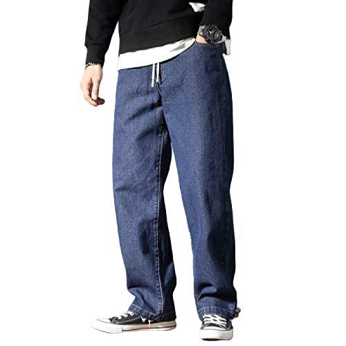 Pantalones Vaqueros para Hombre Primavera y otoño Pantalones Anchos de Pierna Ancha de Gran tamaño Pantalones Vaqueros Sueltos de Pierna Recta Moda de Moda Casual Pantalones de Mezclilla de Todo L