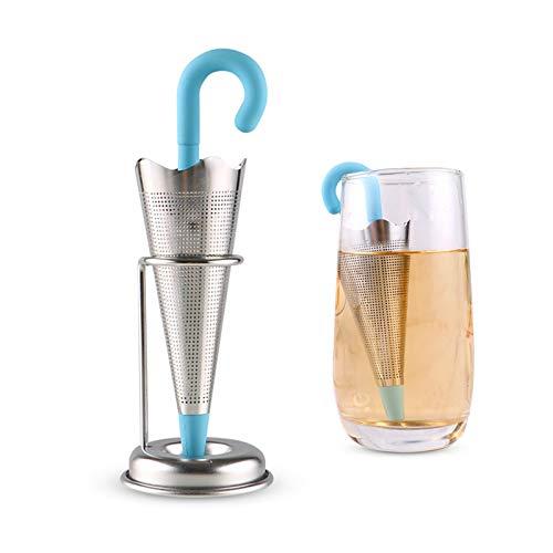 Non/Brand Mousyee Teefilter Silikon, Teefilter Teesieb Große Blaue Regenschirmform Silikon-Tee-Aufguss in Lebensmittelqualität Spaß und kreative Loseblatt-Teefilter mit feinem Netz für größere Tassen