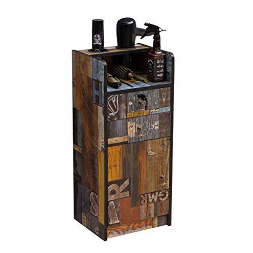 DZWSD American Vintage Friseurladen Schließfach, 2 Schubladen / 1 großes Fach, offene Plattform...