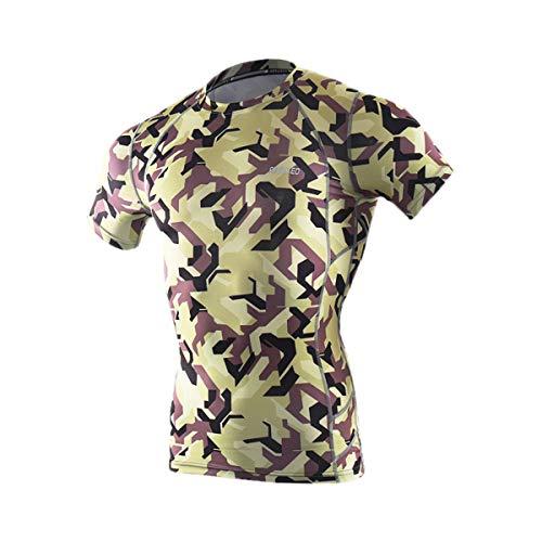ARSUXEO - Camiseta de manga corta para hombre (talla S), color gris, Hombre, color verde, tamaño EU XL / Asian XXL