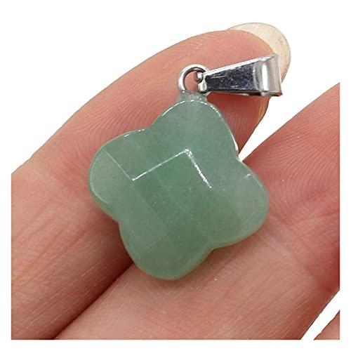 XINGTAO Piedra Rugosa Piedra Natural Colgantes Forma de trébol Agates de Cristal Turquesa Encantos de Piedra ópalo para Hacer joyería Mujer Collar Pulsera Regalo (Metal Color : Green Aventurine)
