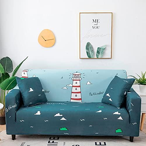 ASCV Funda de sofá elástica a Rayas Doradas Spandex Funda de sofá Universal Funda Protectora de Muebles Funda de sofá Decoración del hogar A3 3 plazas
