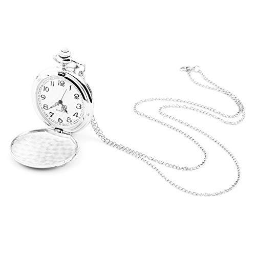 Persdico Mujeres Hombres Vintage Antiguo Reloj de Bolsillo de Cuarzo Polaco Reloj de Cuarzo de Acero Inoxidable con Cadena 4,5 cm tamaño Amante Mejor Regalo